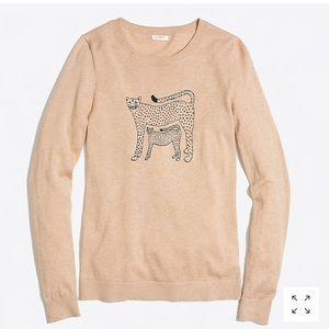 Jcrew embroidered cheetah teddie sweater top XL